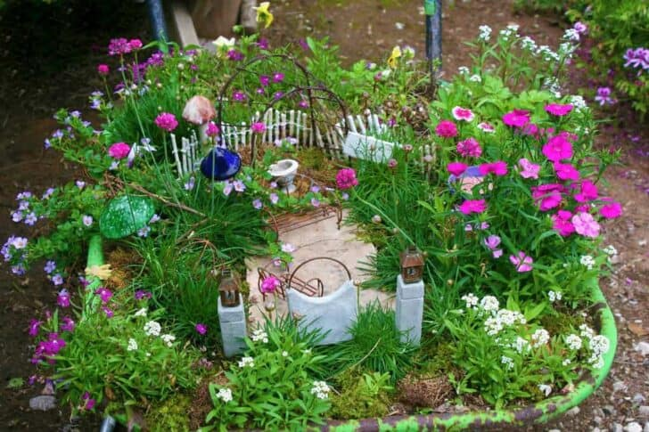 Fairy Garden in a Wheel Barrow Garden Decor
