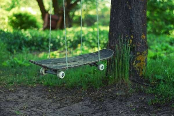 Recycled Skateboard Swing for Kids