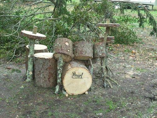 drums Drum set from wood ! in garden art  with wood sculpture drum set