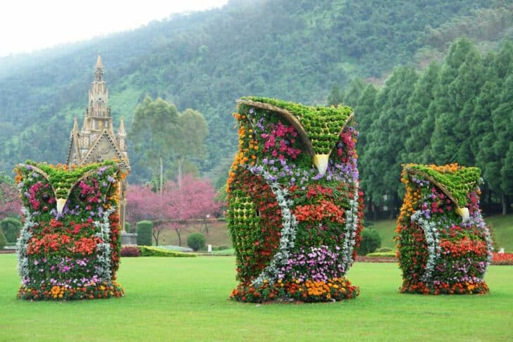 Flower Owls Sculptures 1001 Gardens