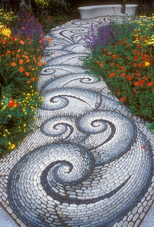 River Rocks Mosaic Path - garden-decor