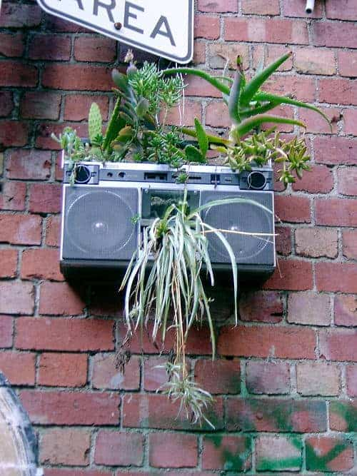 Old Stereo Planter - flowers-plants-planters