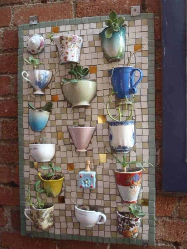 Teacups and Coffee Mugs Upcycled Into Mosaic Board - garden-decor