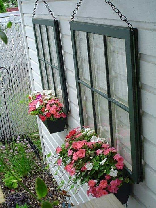 Old Window Repurposed Into Planters