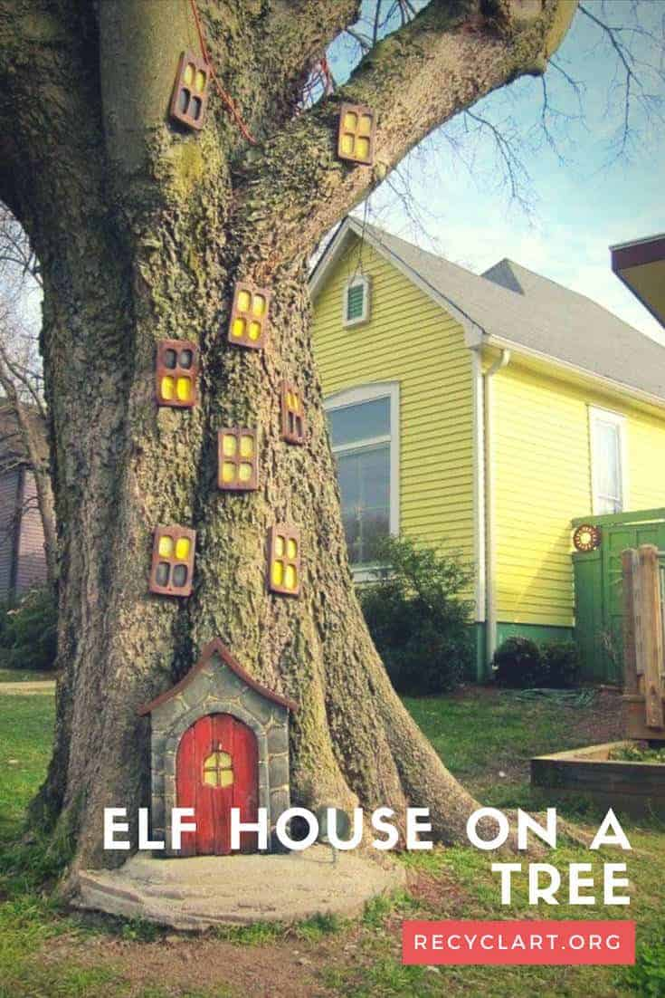 Elf House On A Tree - garden-decor, feeders-birdhouses