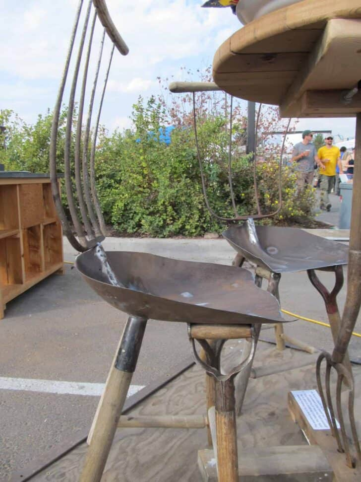 Chairs and Table from Old Tools - patio-outdoor-furniture