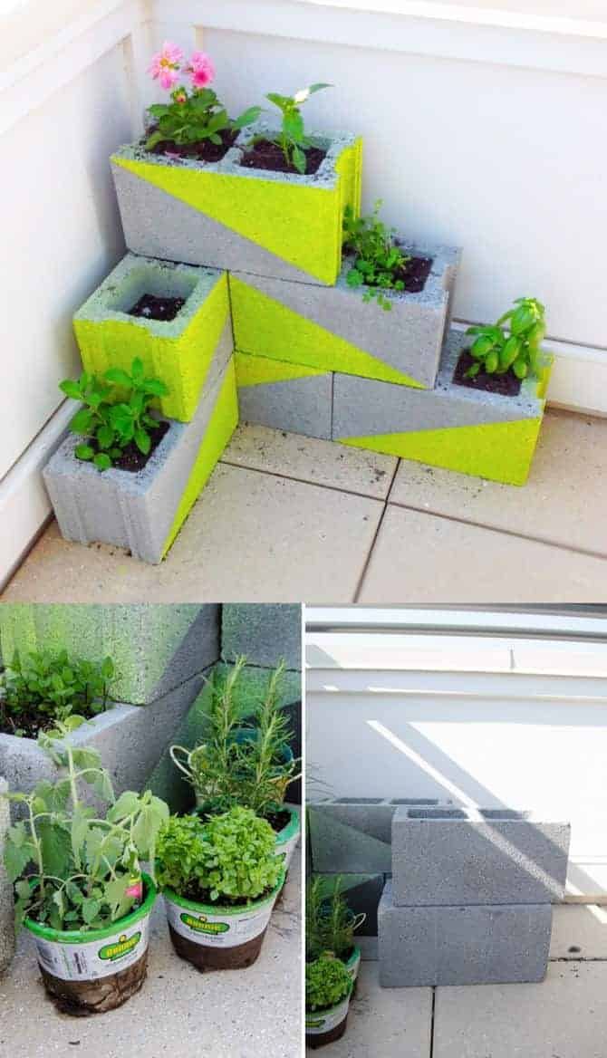 Cinder Blocks Recycled into Modern Planters 1 - Flowers & Plants
