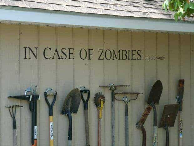 Garden Tools Rack, in Case of Zombies ! Garden Decor Guerrilla & Urban Gardening