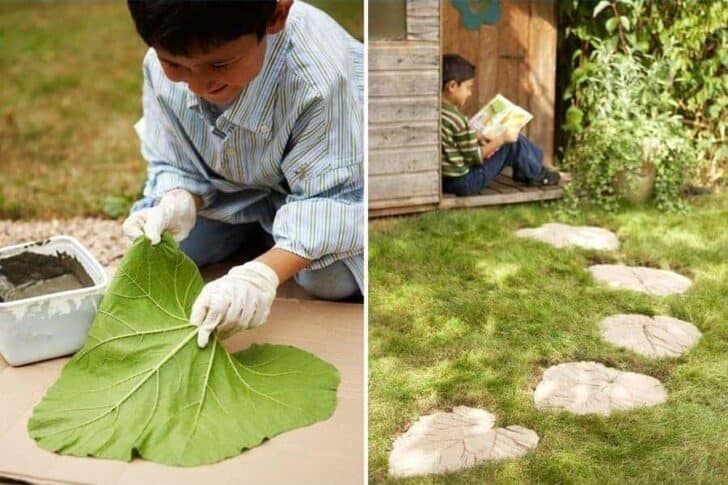 Step by Step DIY Leaves Tiles Garden Decor