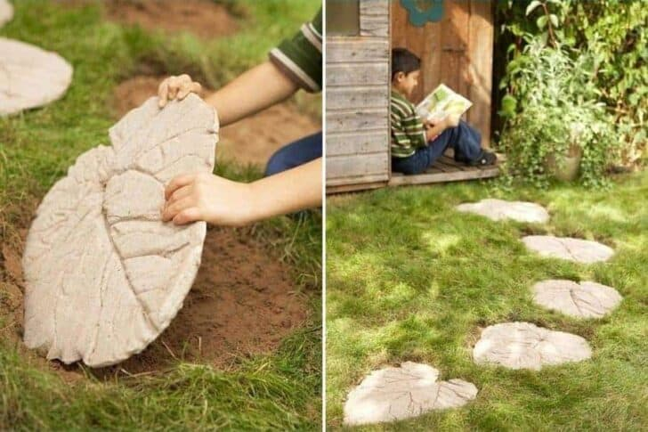 Step by Step DIY Leaves Tiles - garden-decor