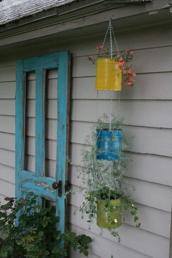 Tin Can Vertical Garden Idea 1 - Flowers & Plants