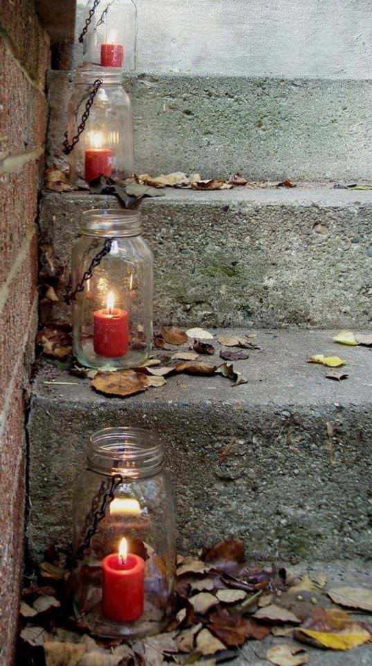 Candle Lights from Mason Jars - outdoor-lighting