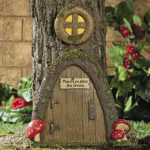Garden Gnome Tree Home Decor in a Outdoor Door Yard Art Pieces 500 x 500