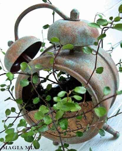Planter from Repurposed Alarm Clock - flowers-plants-planters