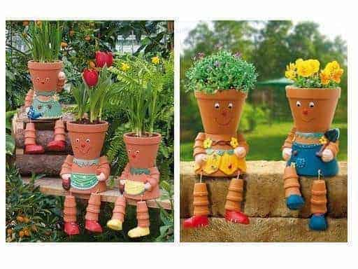 Diy: 5 Clay Pot People with Flowers Ideas - garden-decor