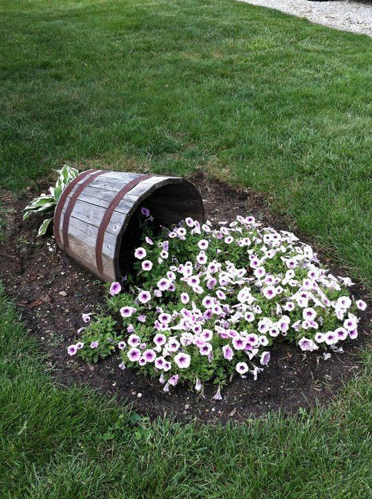 Overturned Flower Bucket - garden-decor