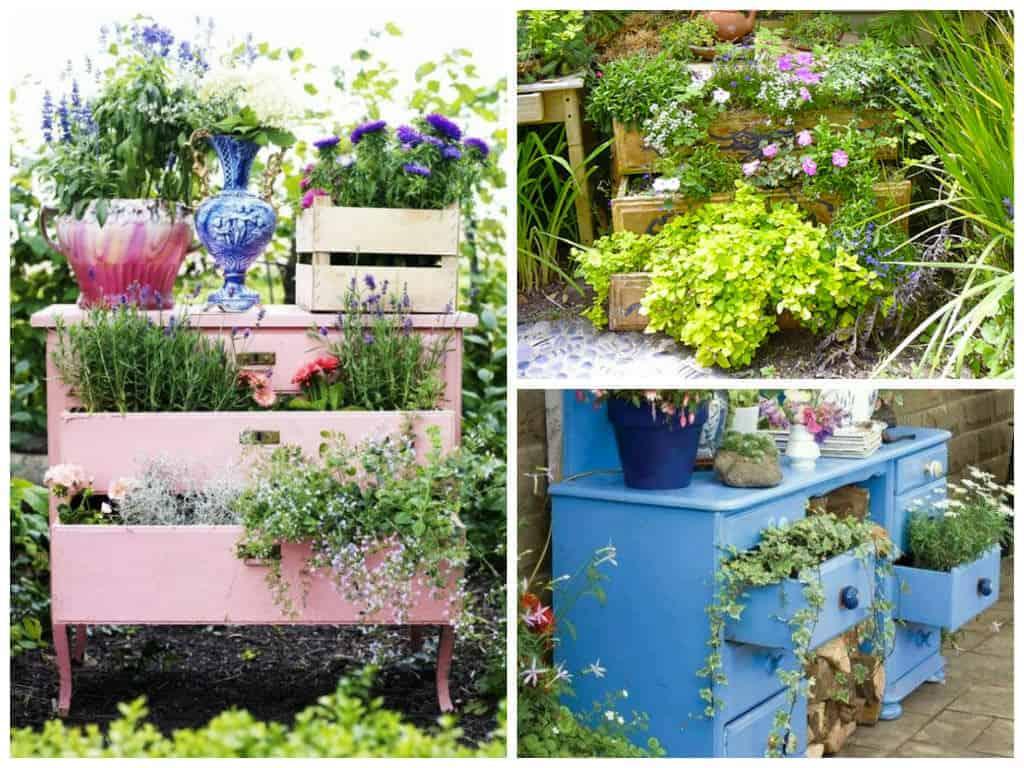Diy recycled garden dresser 1001 gardens for Recycled garden ideas images