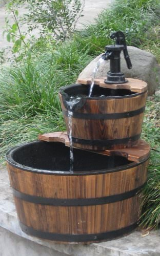 Wood Barrel with Pump Outdoor Water Fountain - Medium Size Garden ...