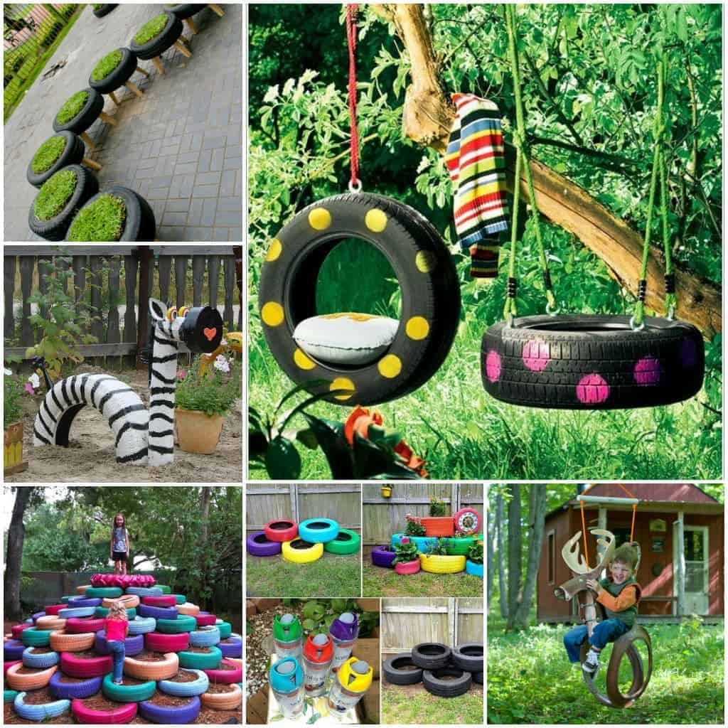 10 diy tire decoration ideas for your garden 1001 gardens for Garden designs for kids