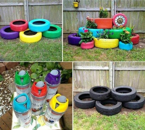 a42a2aa6c7440291c38ba9adc5892a56 M 10 DIY ideas of reused tires for your garden in decoration 2  with Tires swing planter Inner tubes garden DIY decoration