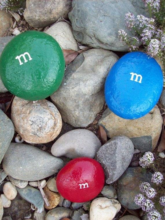 M&m's Painted Stones - garden-decor