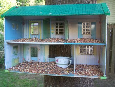 Recycle a Doll House as a Bird Feeder 3 - Bird Feeders & Houses