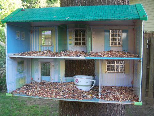 Recycle a Doll House as a Bird Feeder - feeders-birdhouses