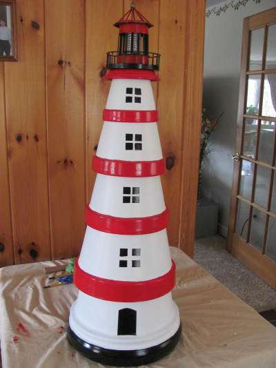 DIY Cute Clay Pot Lighthouses Garden Decor 1001 Gardens