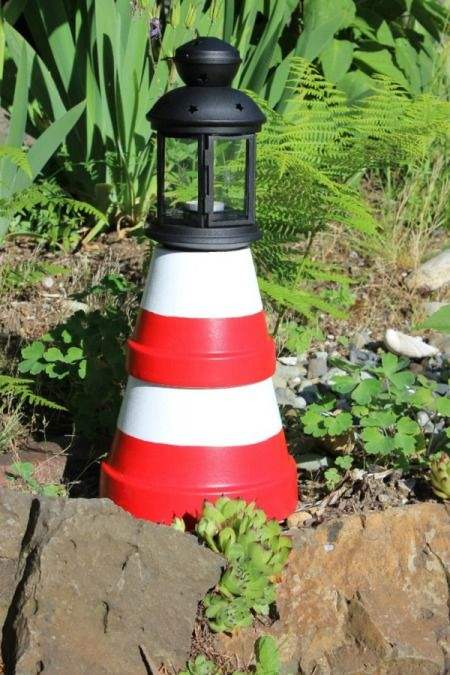 Diy: Cute Clay Pot Lighthouses - garden-decor