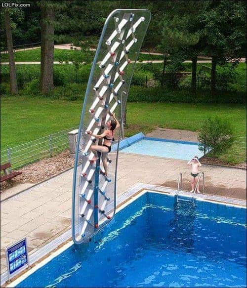 Climbing Wall On A Pool !