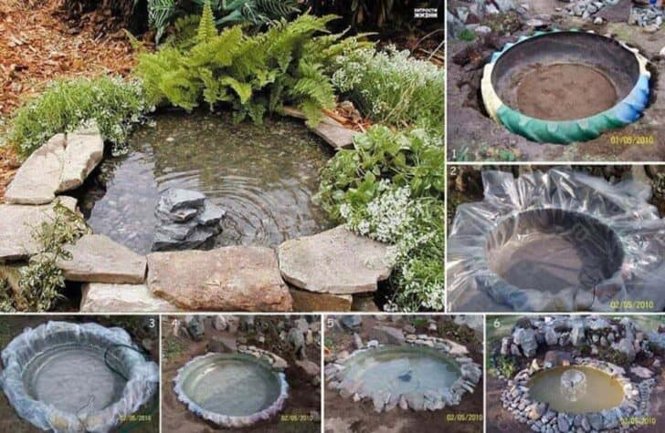 A Garden Water Feature from an Old Tractor Tyre - guerrilla-gardening
