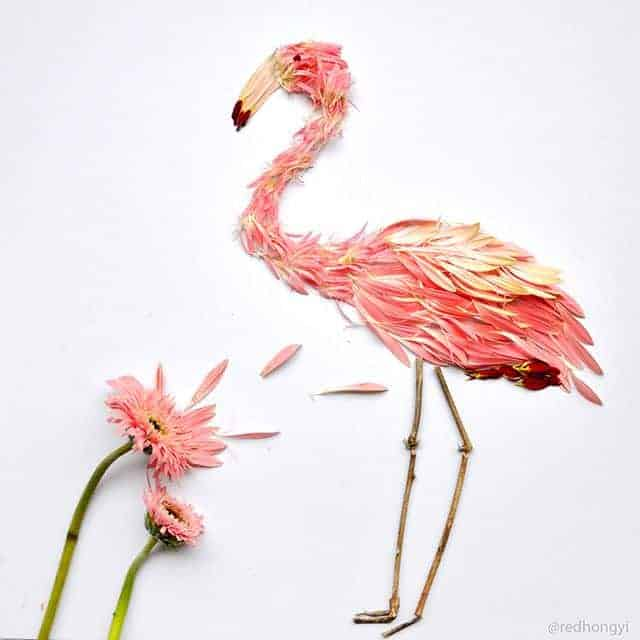 Birds Made of Flower Petals Flowers, Plants & Planters Garden Decor