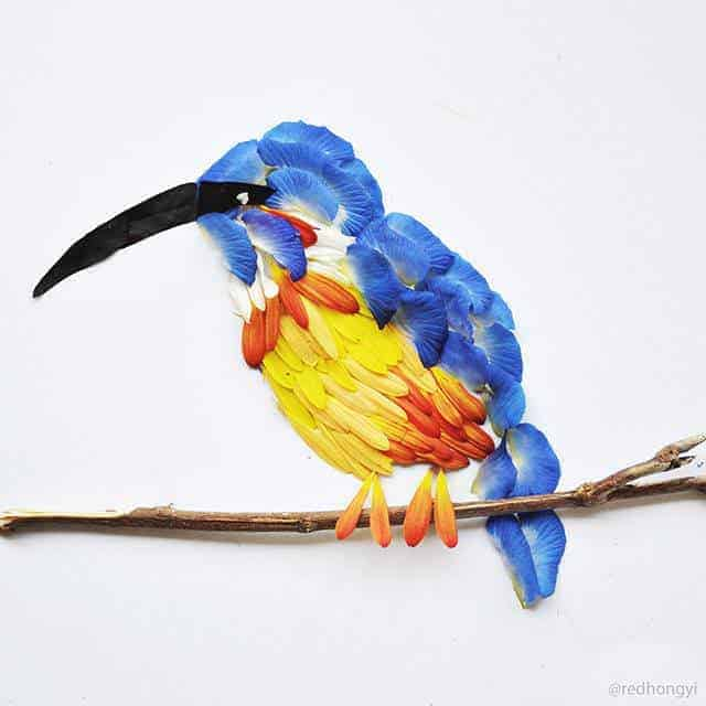 Birds Made of Flower Petals - garden-decor, flowers-plants-planters