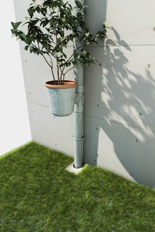 Planter Plugged in Gutters - flowers-plants-planters
