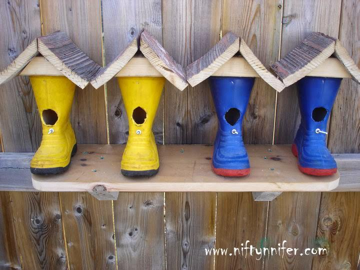Rubber Boots Repurposed Into Cute Birdhouses - feeders-birdhouses