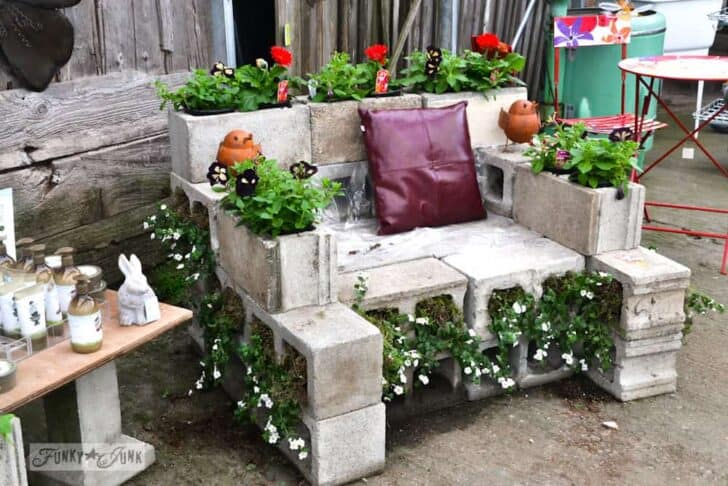 Reused Cinder Block Chair - flowers-plants-planters