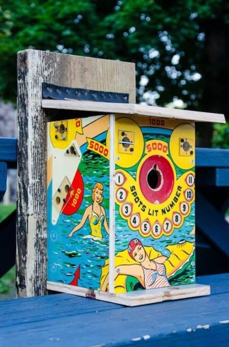 Repurposed Pinball Birdhouses