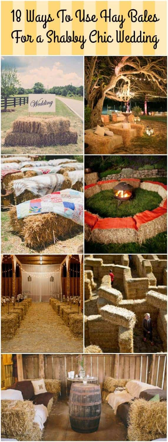 18 Ways to Use Straw Bales for a Shabby Chic Wedding/Garden Party #shabbychic #strawbale #weddings #gardendesign #gardenideas #gardenart #gardenparty #1001gardens