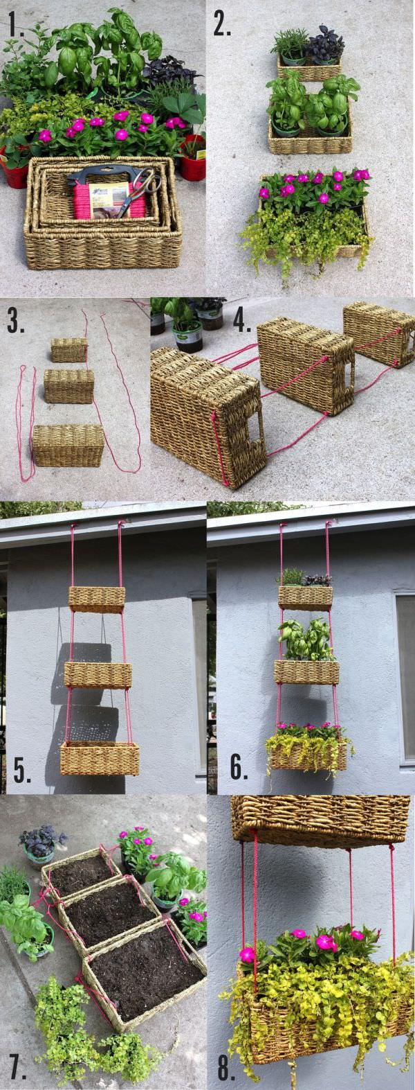 Diy: Upcycled Basket Into Hanging Garden - flowers-plants-planters
