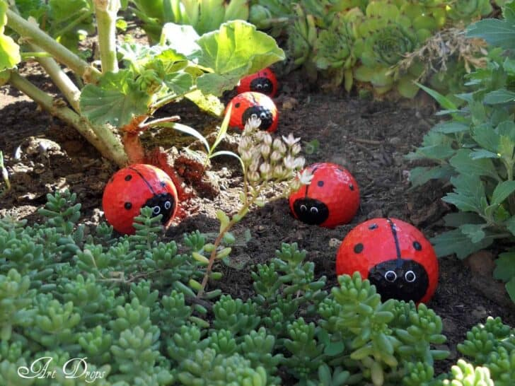Diy: Happy Ladybug Golf Balls - garden-decor