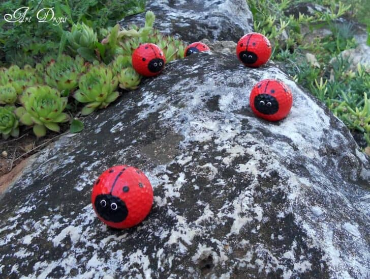 Diy: Happy Ladybug Golf Balls   Garden Decor