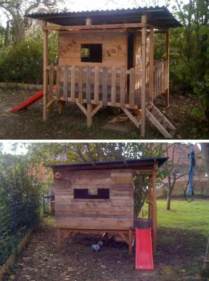25+ Ideas to Recycle Pallets in Kids Pallet Playhouses, Huts or Cabins - sheds-huts-treehouses, garden-pallet-projects-ideas