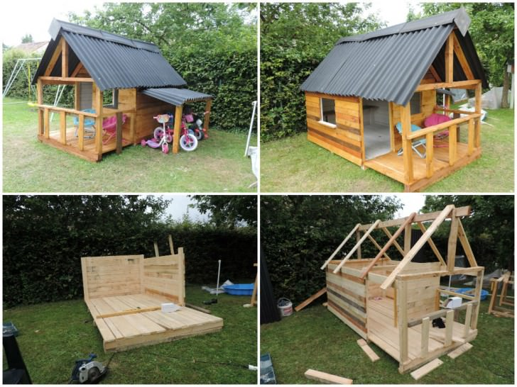 25 ideas to recycle pallets in kids pallet playhouses for Wooden wendy house ideas