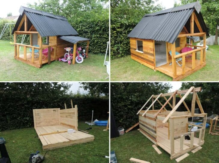 25 Ideas To Recycle Pallets In Kids Pallet Playhouses Huts Or Cabins