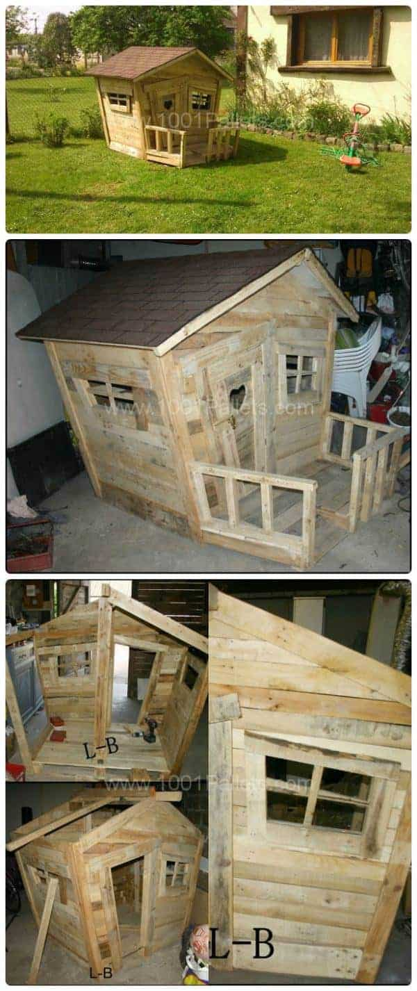 25 Ideas to Recycle Pallets in Kids Pallet Playhouses, Huts or Cabins - sheds-huts-treehouses, garden-pallet-projects-ideas