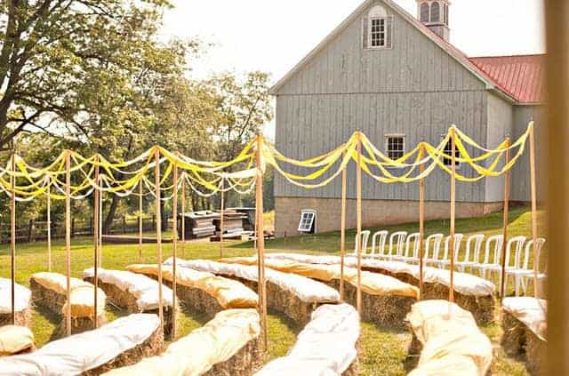 18 Ways to Use Straw Bales for a Shabby Chic Wedding/Garden Party - patio-outdoor-furniture