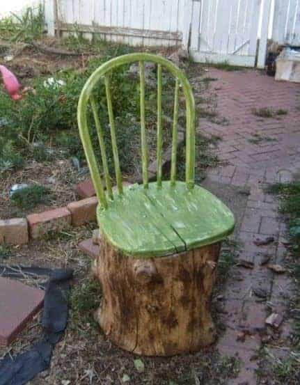 Old Broken Chair + Stump = Garden Chair - patio-outdoor-furniture