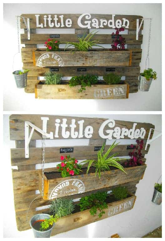 Upcycled Pallet Wall Planter - garden-pallet-projects-ideas, flowers-plants-planters