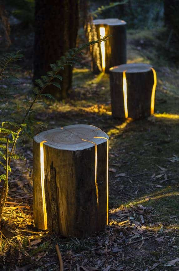 Garden Cracked Log Lamps - outdoor-lighting