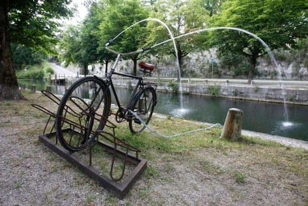 Reclaimed Bike Used As A Fountain In A Public Art Installation Garden Decor